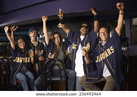 Sports Fans Cheering - stock photo