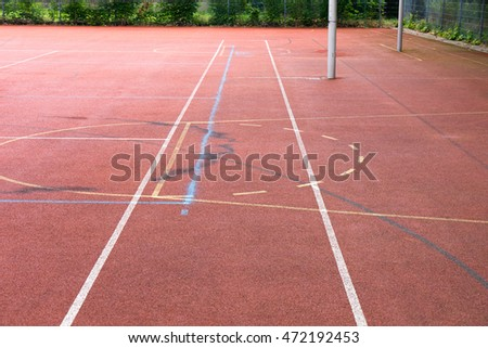 Sports field with lines and boundaries