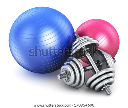 Sports, fitness and healthy life concept: fitness balls and pair of metal shiny dumbbells isolated on white background - stock photo
