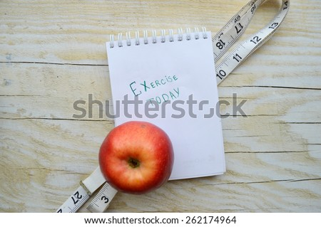 sports, fitness, recording, notepad, concept of weight loss, diet, nutrition - stock photo