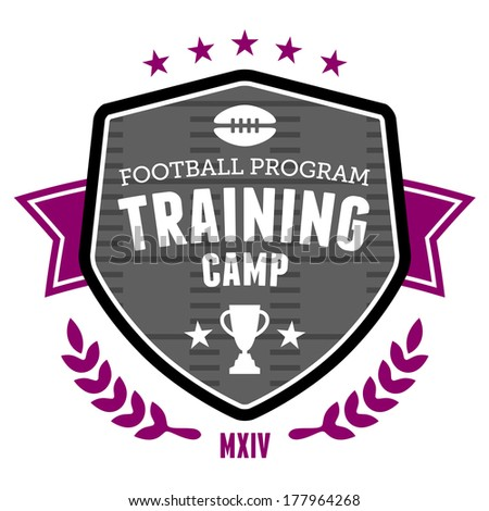 Sports football training camp badge emblem design - stock photo