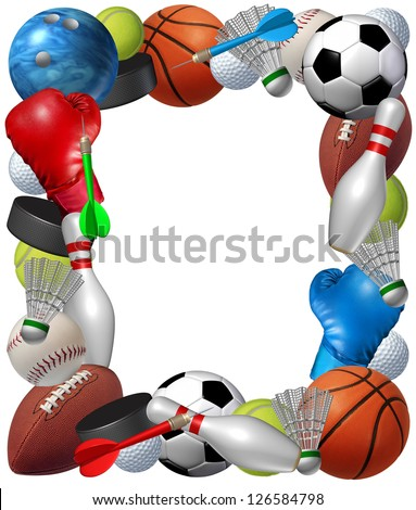 Sports frame with sport equipment from basketball boxing golf bowling tennis badminton football soccer darts ice hockey and baseball as a fitness and health border isolated on a white background. - stock photo
