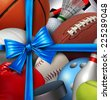 Sports gift concept as a group of sport equipment as football basketball baseball sooccer hockey and golf wrapped with a silk ribbon and bow for athletic holiday giving for exercise and fitness. - stock photo