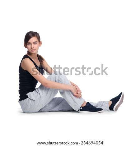 sports girl over white - stock photo