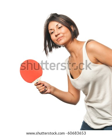 Sports girl plays table tennis - stock photo