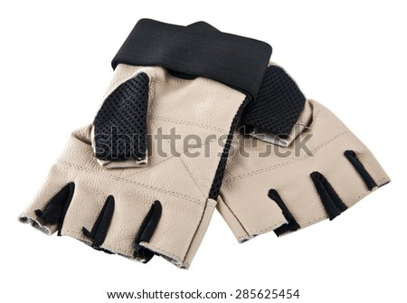 sports gloves on white background - stock photo