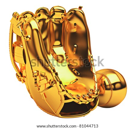 Sports: golden baseball glove and ball isolated over white background