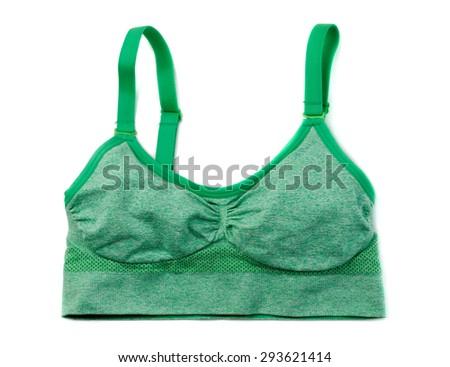 Sports green bra. Isolate on white. - stock photo