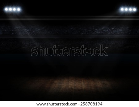 Sports hall interior with spotlights - stock photo