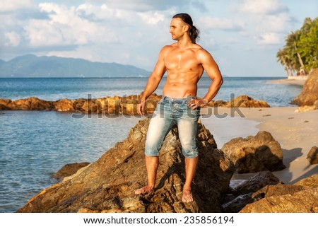 Sports inflated man on the beach, Koh Samui, Thailand - stock photo