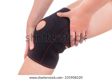 Sports injuries of the knee. Muscle strain. - stock photo