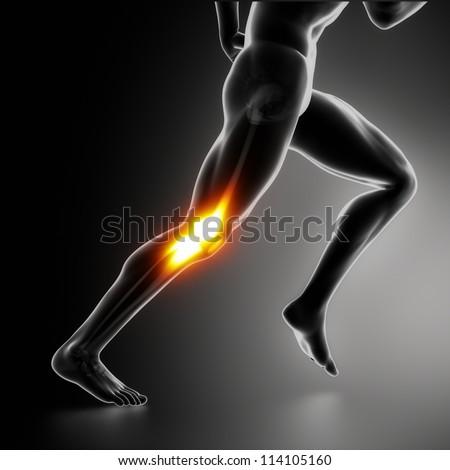 Sports Knee pain concept - stock photo