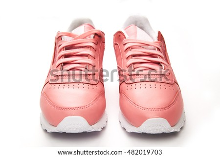 Sports leather sneakers. Free style. Classic. Fashion. Pink