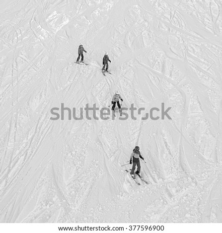 Sports lesson in the children ski school in Penken area - Mayrhofen, Austria (black and white) - stock photo