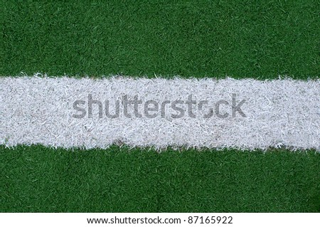 Sports lines painted on a green grassy playing field