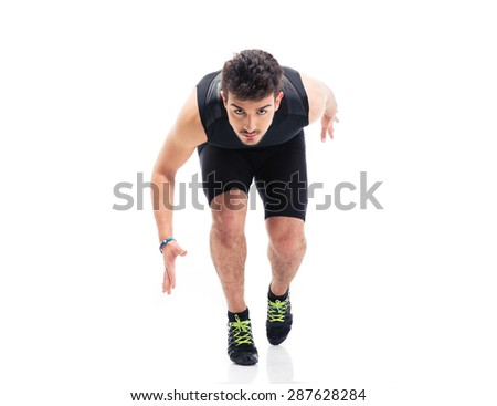 Sports man running isolated on a white background - stock photo