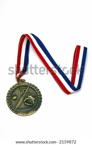 Sports medal against a white background with soft shadow