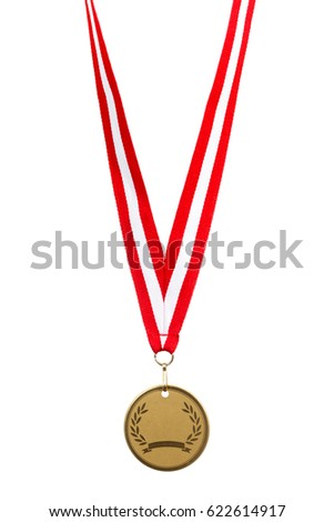 Sports medal closeup on isolated white background.