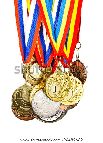 Sports Medals. Photos isolated on white background - stock photo