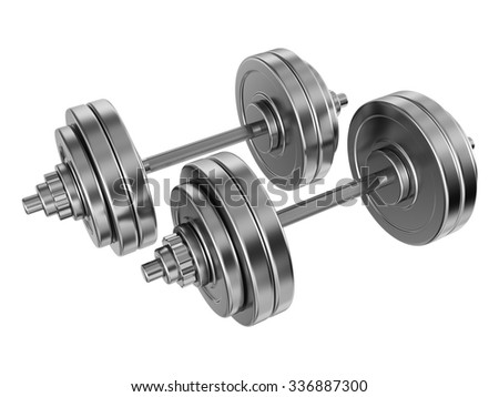Sports metal dumbbells, isolated on white background