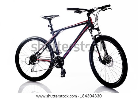 Sports mountain bicycle on isolated a white background