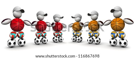 sports person (player) from different balls . team with a leader. Sport concept. 3d illustration isolated on white background