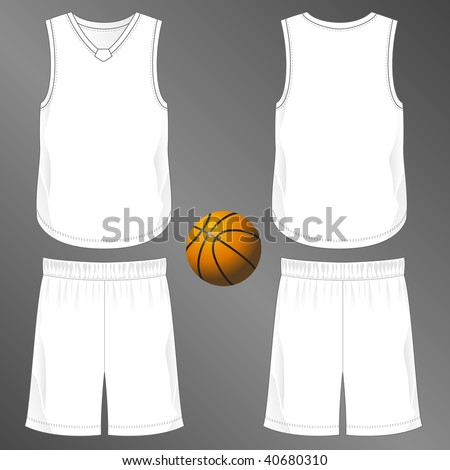 Sports series. Realistic team basketball uniform: shorts and sleeveless v-neck jersey  with diamond cut neck insert (front and back). Blank template - just add your art. - stock photo