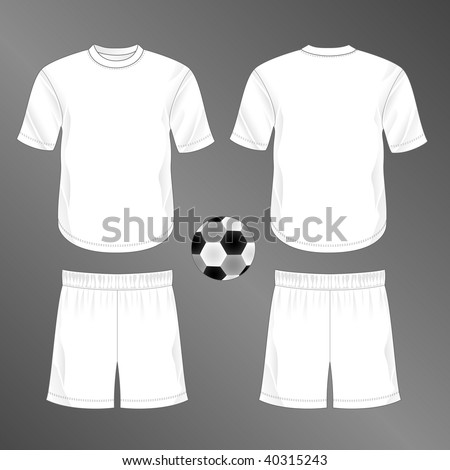 Sports series. Realistic team soccer (European football) uniform: shorts and jersey with round neck (front and back). Blank template - just add your art. - stock photo