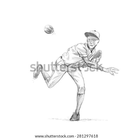 Sports Series  / Sketchy pencil drawing of a baseball player / Pitcher / High Resolution Scan