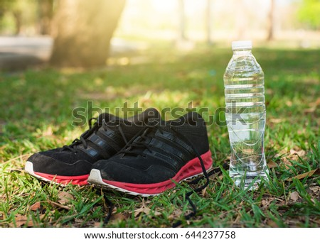 Sports shoes and bottle of water in the park.Exercise & workout concept.