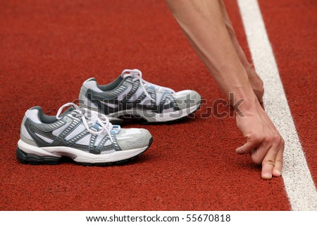 Sports shoes and line of start