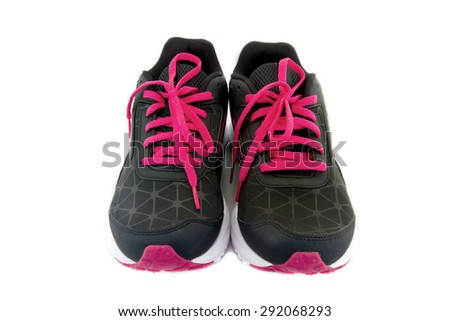 Sports shoes color black and red isolated on white background. clipping path on picture.
