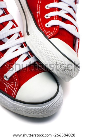 sports shoes red on a white background - stock photo