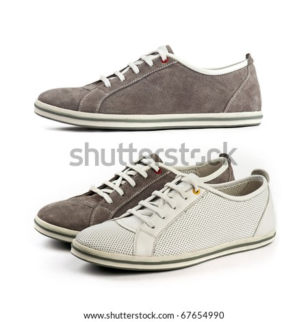 Sports shoes: white and brown shoes (at the bottom) and the same brown shoe, side view (at the top) - stock photo