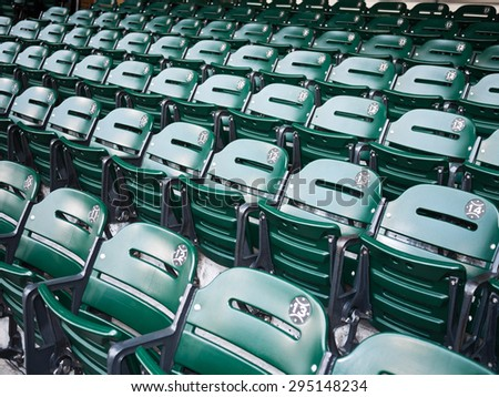 Sports Stadium Seats - Picture of green sports stadium seats at a baseball ballpark venue - stock photo