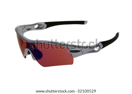Sports sun glasses isolated on the white background. - stock photo