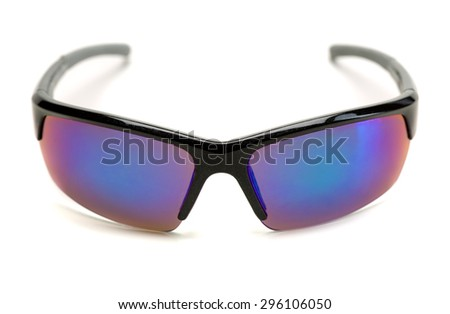 Sports sunglasses with blue lenses. Isolate on white. - stock photo