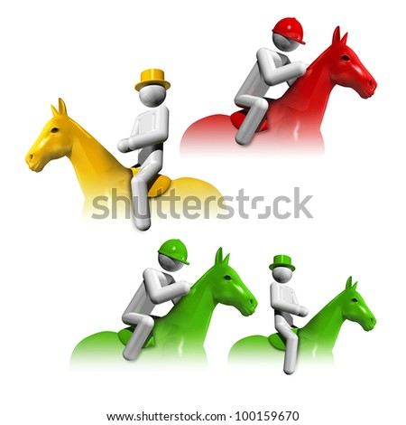 sports symbols icons serie 6 on 9, equestrian dressage, jumping, eventing - stock photo