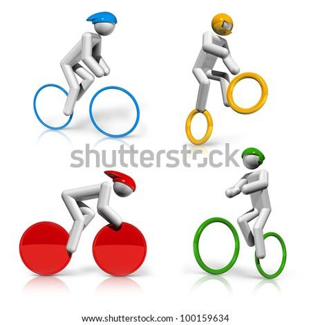 sports symbols icons series 5 on 9, cycling, BMX, mountain bike, road, track - stock photo