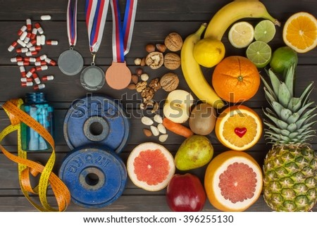 Sports training and a healthy diet. Healthy nutrition for athletes. Sporting achievements. Supplements for athletes. - stock photo