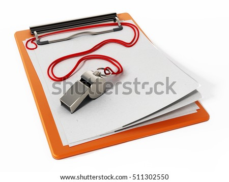 Sports whistle and empty pages isolated on white background. 3D illustration.