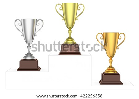 Sports winning and championship and competition success concept - golden, silver and bronze winners trophy cups isolated on the imaginary winners podium drawn by gray contour lines, 3d illustration - stock photo