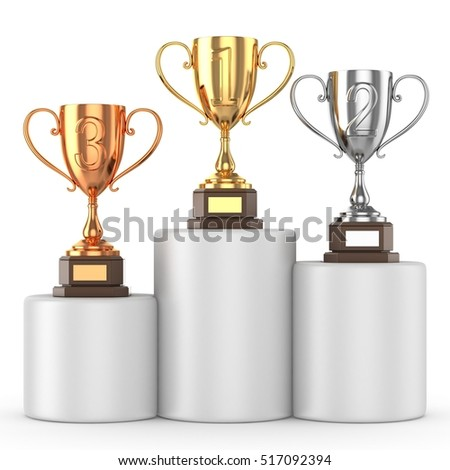 Sports winning and championship and competition success concept. Isolated on white background. 3d render