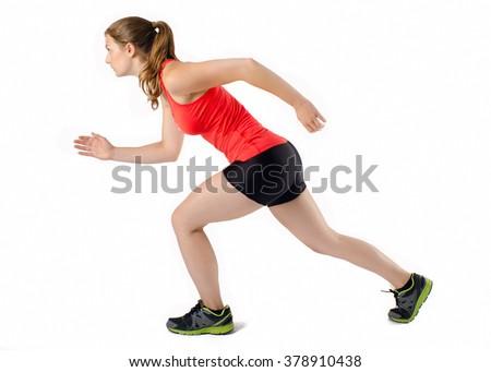 Sports Woman Running Race. Female Athlete Runner. Isolated - stock photo