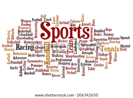 Sports - Word collage on white background - stock photo