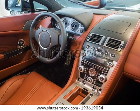 Sportscar dashboard interior - stock photo