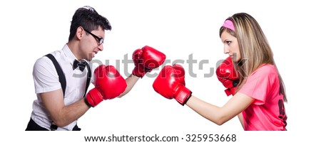 Sportsman and employee kickboxing isolated on white - stock photo