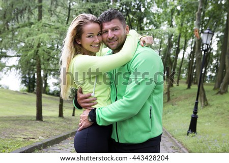 sportsman and sportswoman after exercise - stock photo