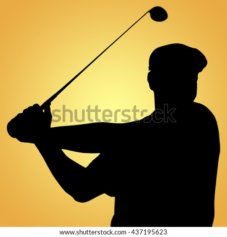 Sportsman is playing golf against yellow vignette
