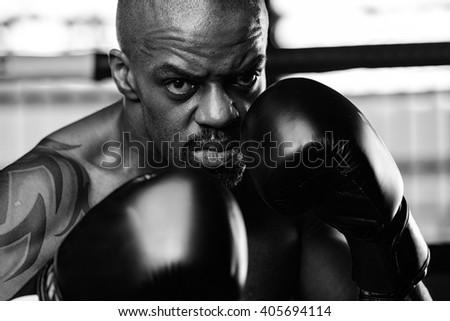 Sportsman kick boxer portrait after training  - stock photo